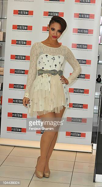 Amelle Berrabah of Sugababes launches debut fragarances 'Tease Tempt and Touch' at Westfield on September 25 2010 in London England