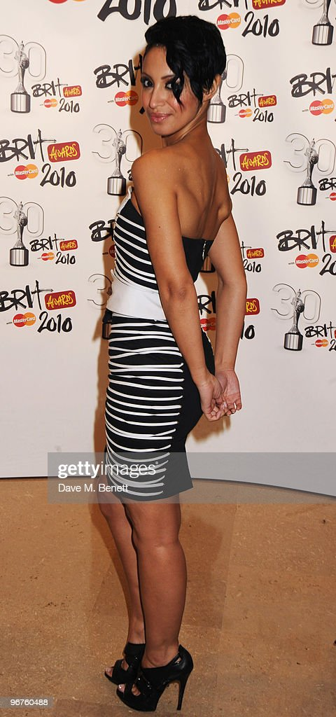 Amelle Berrabah of the Sugababes arrives at The Brit Awards 2010, at Earls Court One on February 16, 2010 in London, England.