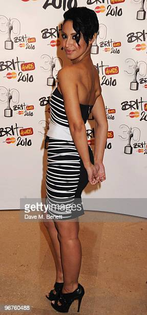 Amelle Berrabah of the Sugababes arrives at The Brit Awards 2010 at Earls Court One on February 16 2010 in London England