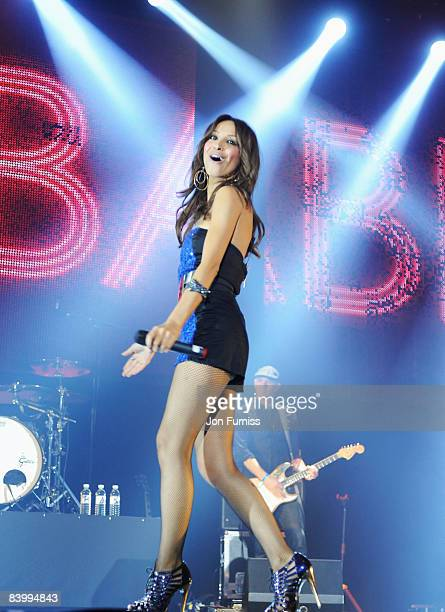 LONDON DECEMBER 10 Amelle Berrabah of the Sugababes performs during the show at Capital FM's Jingle Bell Ball held at the 02 Arena Docklands on...