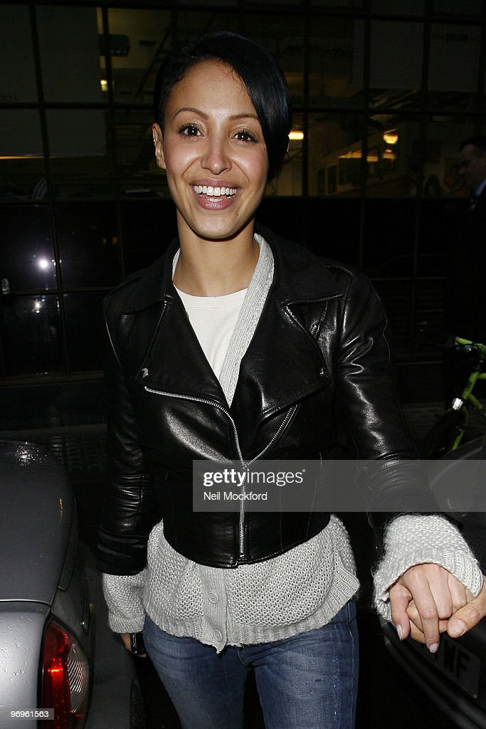 Amelle Berrabah of the Sugababes sighted leaving BBC Radio One studios on February 22, 2010 in London, England.