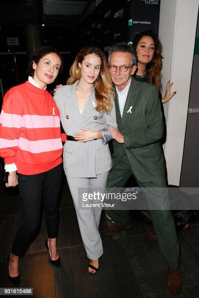 Amelle Chahbi Alice David Patrice Leconte and Lola Dewaere attend Mobile Film Festival 2018 at Mk2 Bibliotheque on March 13 2018 in Paris France