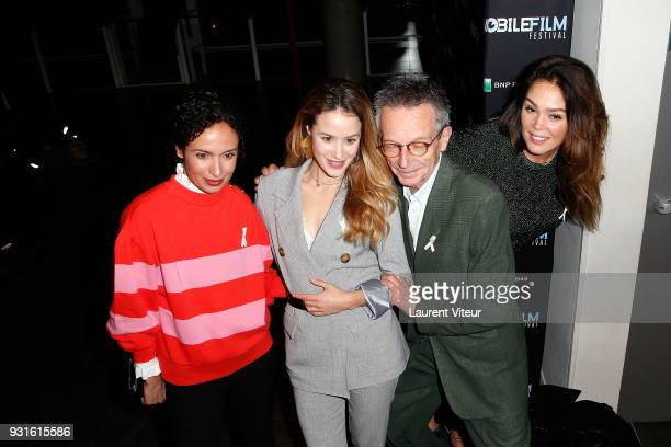 "Amelle Chahbi, Alice David, Patrice Leconte and Lola Dewaere attend ""Mobile Film Festival 2018"" at Mk2 Bibliotheque on March 13, 2018 in Paris,..."