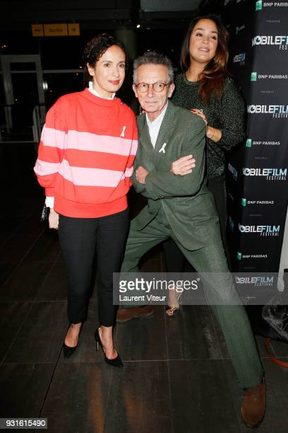 Amelle Chahbi Patrice Leconte and Lola Dewaere attend Mobile Film Festival 2018 at Mk2 Bibliotheque on March 13 2018 in Paris France