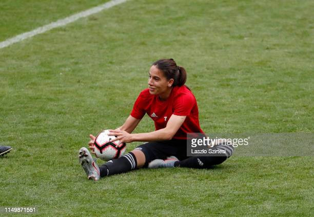 AmelMajri of Olympique Lyonnais attends a training session ahead of the UEFA Women's Champions League Final match between Olympique Lyonnais and FC...