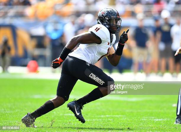 Amen Ogbongbemigav of the Oklahoma State Cowboys in action during the game against the Pittsburgh Panthers at Heinz Field on September 16 2017 in...