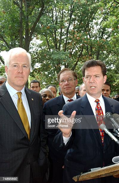 AMENDMENTSen John Cornyn RTexas and Sen Wayne Allard RColo and Sen Sam Brownback RKan during a news conference on the marriage amendment after the...