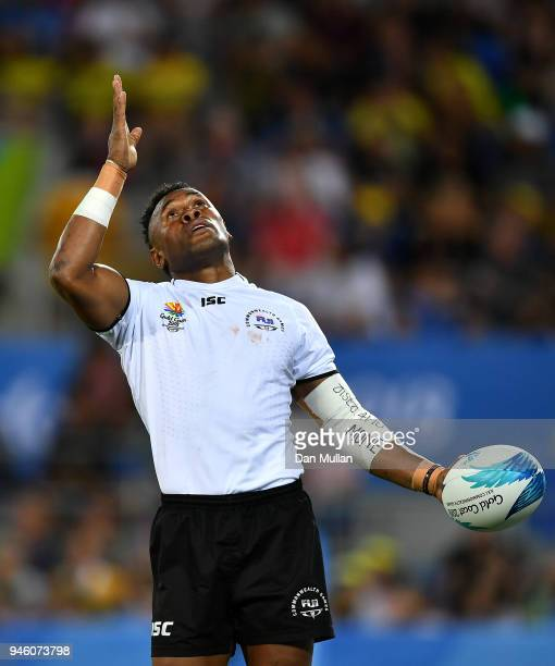 Amenoni Nasilasila of Fiji celebrates scoring a try during the Rugby Sevens Men's Pool D match between Fiji and Uganda on day 10 of the Gold Coast...