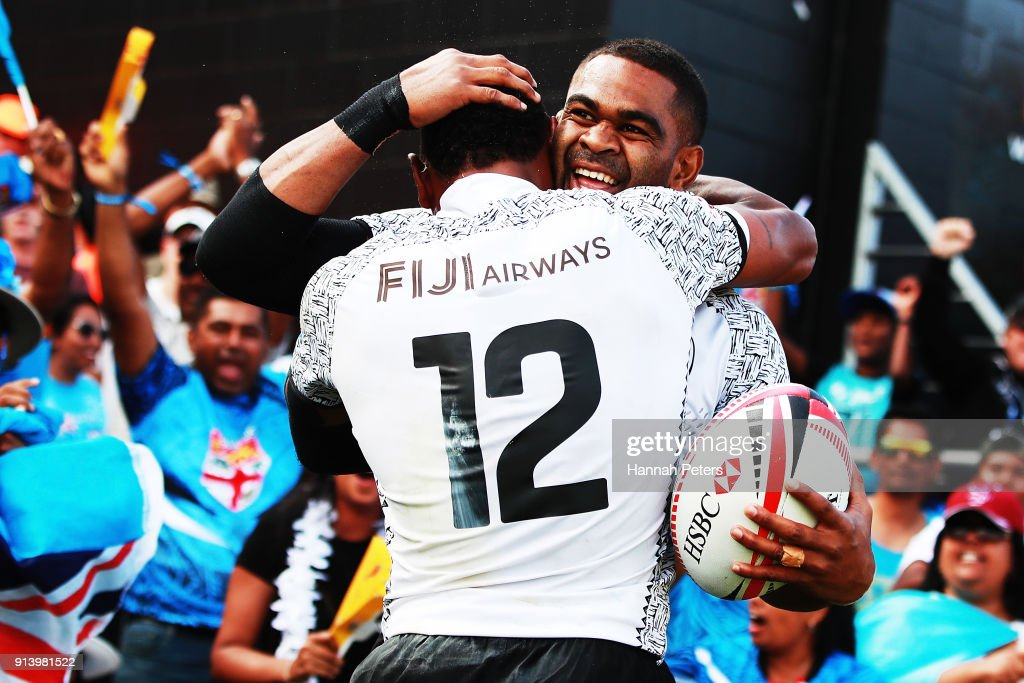 Amenoni Nasilasila of Fiji celebrates with Vatemo Ravouvou after beating New Zealand in the semi final during the 2018 New Zealand Sevens at FMG Stadium on February 4, 2018 in Hamilton, New Zealand.