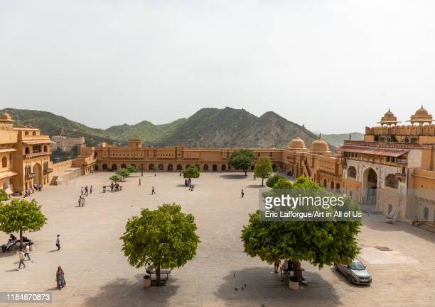 Amer fort and palace courtyard, Rajasthan, Amer, India on July 12, 2019 in Amer, India.