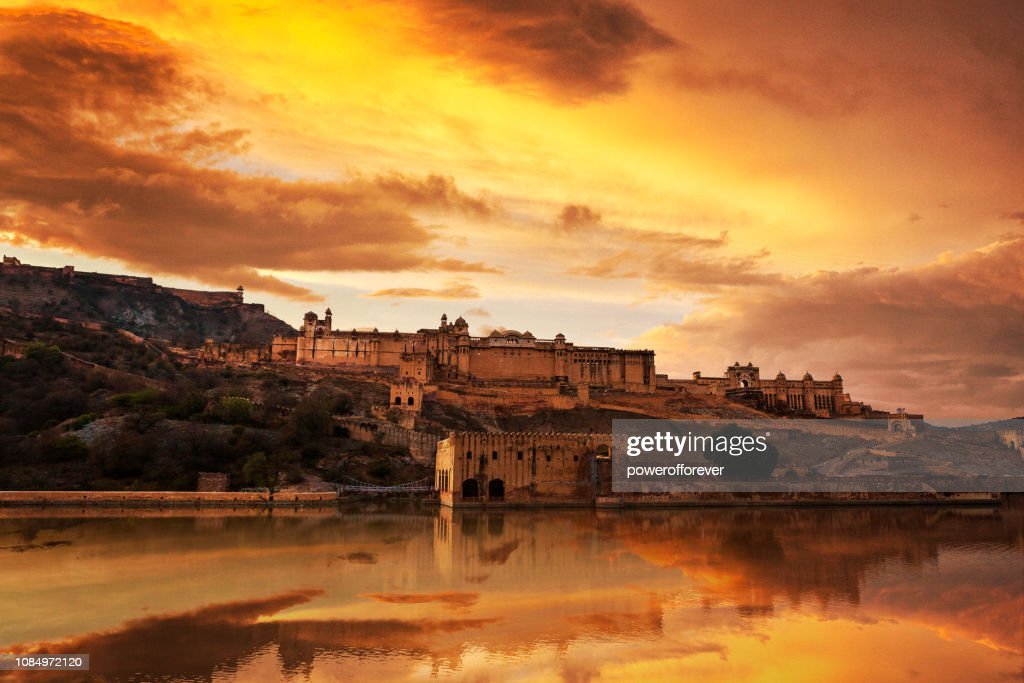 Amer Fort at Sunset in Jaipur, India : Stock Photo