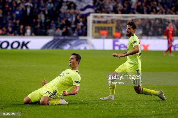 Amer Gojak midfielder of Dinamo Zagreb celebrates scoring a goal pictured during the Europa League Group Stage Group D match between RSC Anderlecht...