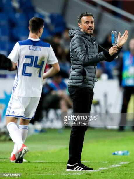 Amer Gojak of Bosnia and Herzegovina coach Luis Enrique of Spain during the UEFA Nations league match between Spain v Bosnia and Herzegovina at the...