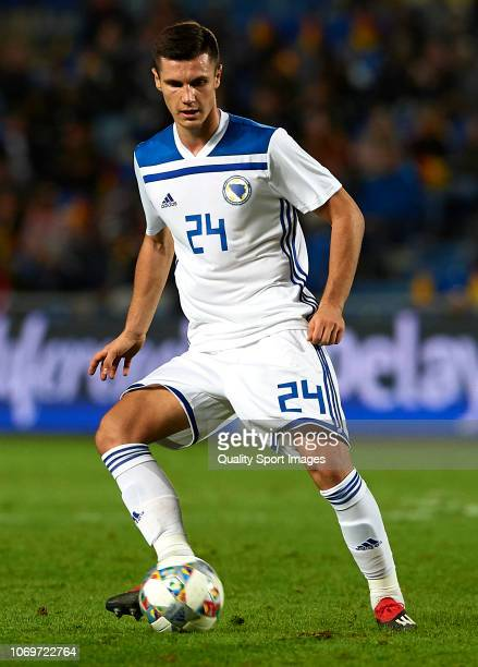 Amer Gojak of Bosnia in action during the international friendly match between Spain and Bosnia Herzegovina at Estadio de Gran Canaria on November 18...