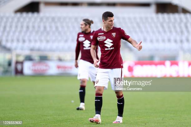 Amer Gojak of Torino FC gestures during the Coppa Italia match between Torino Fc and Us Lecce. Torino Fc wins 3-1 over Us Lecce.