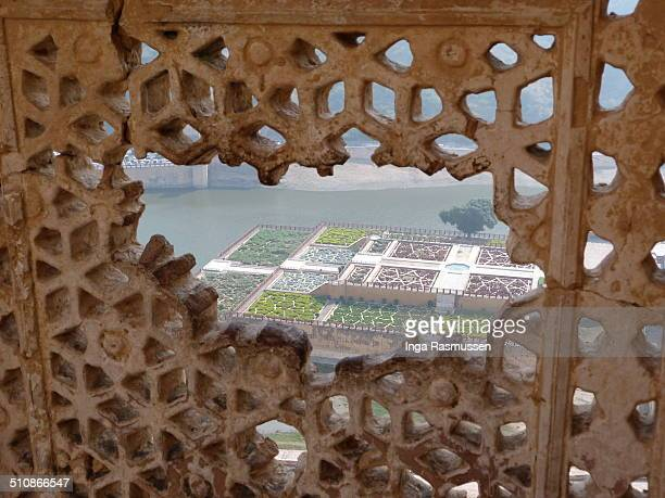Amer Palace Jaipur Rajasthan state India It is the principal tourist attractions in the Jaipur area located high on a hill Amer Fort was built by...