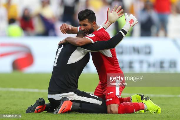 Amer Shafi of Jordan celebrates with his team mate Ahmad Ersan of Jordan their victory over Australia at the end of the AFC Asian Cup Group B match...