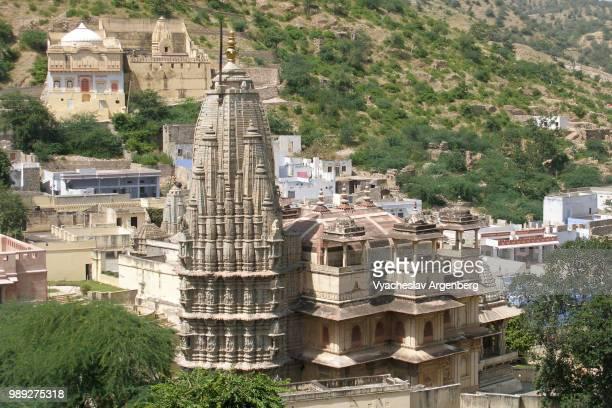 amer town cityscape near jaipur, the capital of rajasthan, india - argenberg stock-fotos und bilder