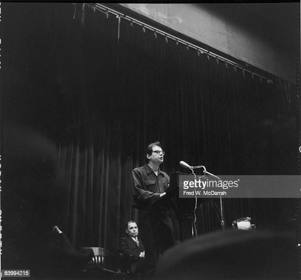 Amercan poet Allen Ginsberg reads Columbia University New York New York February 5 1959 Columbia Professor Frederick W Dupree is seated behind him