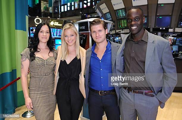 Amercia's Copper Cast Franka Potente Anastasia Griffith Tom WestonJones and Ato Essandoh visit The New York Stock Exchange at New York Stock Exchange...