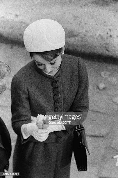 Amercican actress Audrey Hepburn on the set of thriller and romance film 'Charade' directed by Stanley Donen 1963 in Paris France
