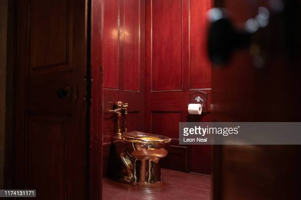 """America"""", a fully-working solid gold toilet, created by artist Maurizio Cattelan, is seen at Blenheim Palace on September 12, 2019 in Woodstock,..."""