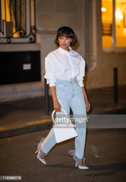 America actress Kat Graham is seen wearing Jacquemus bag Toteme blouse Midnight 00 shoes during Paris Fashion Week Womenswear Fall/Winter 2019/2020...