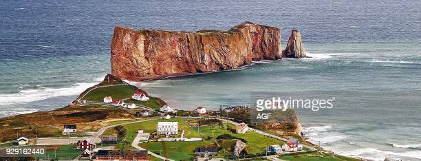 America Canada Québec Gaspésie Percé city coast Perce rock is a huge sheer rock formation in the Gulf of Saint Lawrence on the tip of the Gaspe...