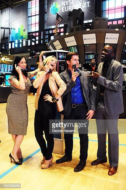 BBC America 'Copper' cast members Franka Potente Anastasia Griffith Tom WestonJones and Ato Essandoh ring the closing bell at the New York Stock...