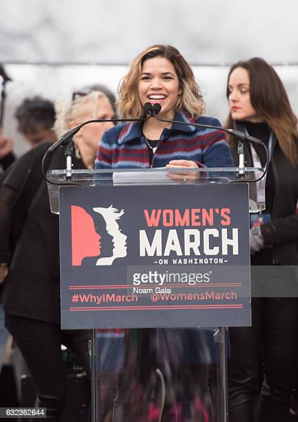 America Ferrara attends the Women's March on Washington on January 21 2017 in Washington DC