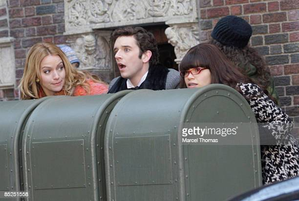 America Ferrara Becki Newton and Michael Urie sighting on the set of the TV show Ugly Betty on the streets of Manhattan on March 4 2009 in New York...
