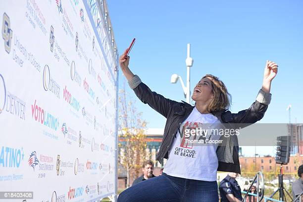 America Ferrera activist and actress takes a selfie with students of Metropolitan State University Community College of Denver and University of...