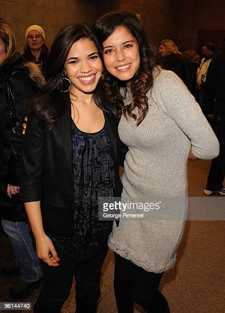 America Ferrera and Actors Ana Claudia Talancón attend The Dry Land premiere during the 2010 Sundance Film Festival at Eccles Center Theatre on...