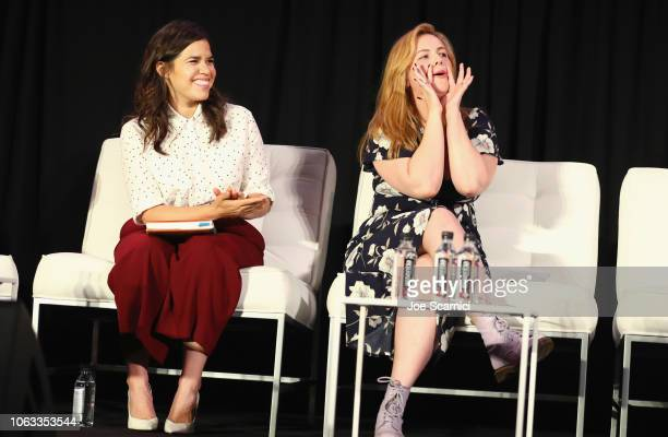 America Ferrera and Amber Tamblyn speak onstage during 'Roxane Gay and Amber Tamblyn present Feminist AF' during Vulture Festival Presented By ATT at...