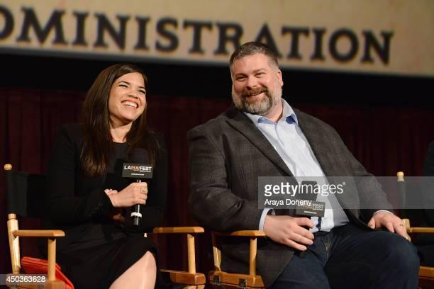 America Ferrera and Dean DeBlois attend the LA Film Festival prefestival screening and QA of How To Train Your Dragon 2 at Regal Cinemas LA Live on...