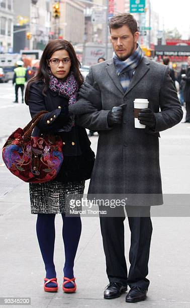 America Ferrera and Eric Mabius are seen filming on the set of the TV show Ugly Betty on the Streets of Manhattan on November 23 2009 in New York City