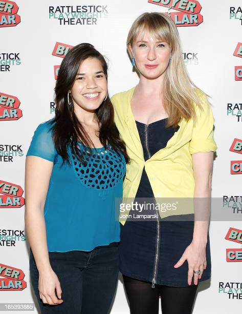 America Ferrera and Halley Feiffer attend 'Buyer And Cellar' Off Broadway Opening Night at Rattlestick Playwrights Theater on April 3 2013 in New...