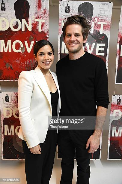 America Ferrera and husband Ryan Piers Williams attend Ryan Piers Williams' 'Monsters And Landscapes' Exhibition Opening Reception at The Garfield...