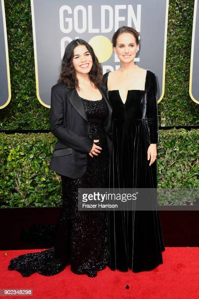 America Ferrera and Natalie Portman attends The 75th Annual Golden Globe Awards at The Beverly Hilton Hotel on January 7 2018 in Beverly Hills...