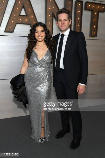 America Ferrera and Ryan Piers Williams attend the 2019 Vanity Fair Oscar Party hosted by Radhika Jones at Wallis Annenberg Center for the Performing...