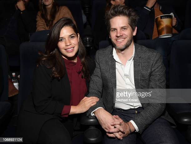 America Ferrera and Ryan Piers Williams attend the Los Angeles Premiere of Neon's 'Vox Lux' at ArcLight Hollywood on December 5 2018 in Los Angeles...