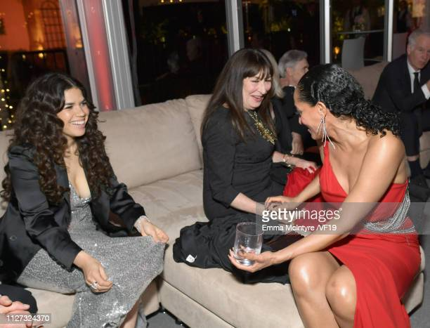 America Ferrera Anjelica Hustonand Tracee Ellis Ross attend the 2019 Vanity Fair Oscar Party hosted by Radhika Jones at Wallis Annenberg Center for...