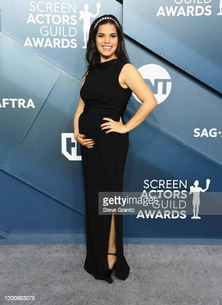 America Ferrera arrives at the 26th Annual Screen Actors Guild Awards at The Shrine Auditorium on January 19 2020 in Los Angeles California
