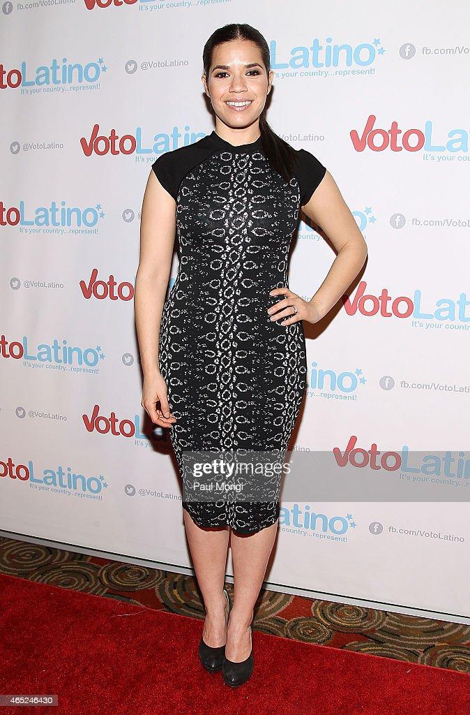 America Ferrera, Artist Coalition Co-Chair, Voto Latino, poses for photos at Voto Latino's 10th Anniversary Celebration at Hamilton Live on March 4, 2015 in Washington, DC.