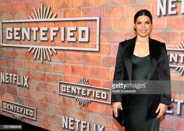 America Ferrera attends the premiere of Netflix's Gentefied at Plaza de la Raza on February 20 2020 in Los Angeles California