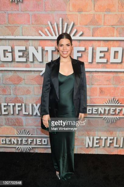 "America Ferrera attends the premiere of Netflix's ""Gentefied"" at Plaza de la Raza on February 20, 2020 in Los Angeles, California."
