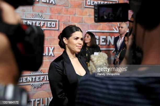 America Ferrera attends the premiere of Netflix's GENTIFIED Season 1 at Margo Albert Theatre on February 20 2020 in Los Angeles California