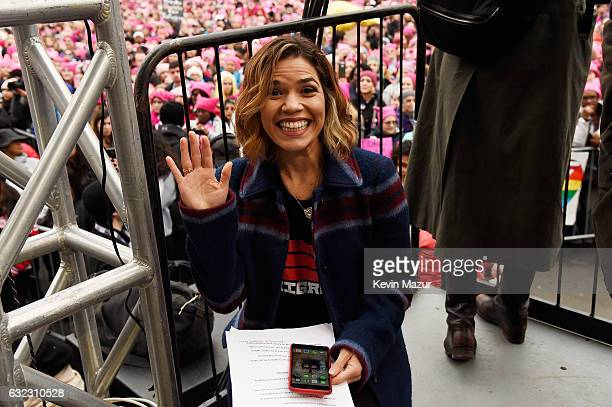 America Ferrera attends the rally at the Women's March on Washington on January 21 2017 in Washington DC