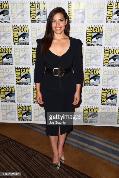 """America Ferrera attends the """"Superstore"""" press line at 2019 Comic-Con International on July 18, 2019 in San Diego, California."""