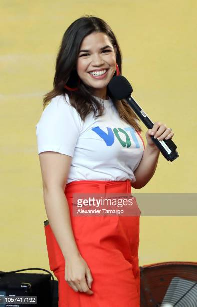 America Ferrera is seen at the Latinas Stand Up rally to encourage people to get out and vote at Ball Chain on November 4 2018 in Miami Florida